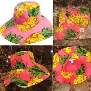 Trina Turk-Pineapples on Pink -Shade Hat-NWT